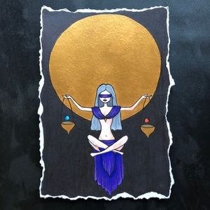 """Libra"" Zodiac Moon Spirit Art Print 5"" by 7"""